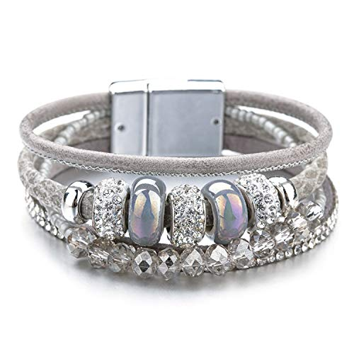 victoriasong Ceramic Beads Charm Leather Bracelets Retro Boho Style Crystal Wide Multilayer Bracelet,Gray