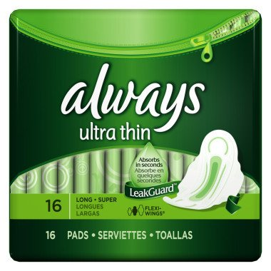 ALWAYS 16CT ULTRA THIN LONG SUPER WINGS 12 packs of Sanitary Pads by Always