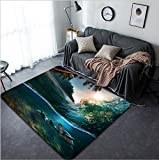 Vanfan Design Home Decorative 144189244 Tropical paradise template with sunlight Ocean surfing wave breaking and two big green turtles diving underwater Modern Non-Slip Doormats Carpet for Living Din