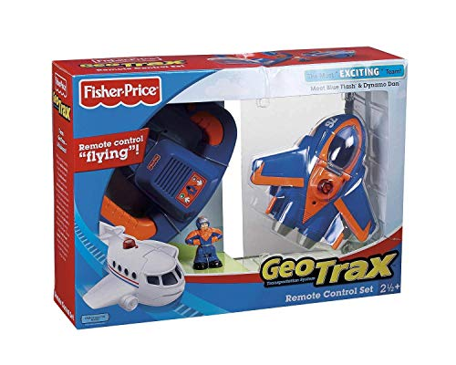 Fisher Price Remote Control GeoAir Plane Blue Flash and Dynamo Dan (Geotrax Train Remote Control)