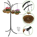 Steel Yard Tree Plant Stand 4-Arm Tree w/4 Hanging Baskets Heavy Duty Free Standing Hanging Garden System