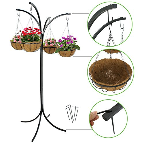 Arm Plant Stand - ZENY 4 Basket Arm Tree Hanging Patio Stand Rack, Space-Saving Plant Planter, Outdoor Patio Decor