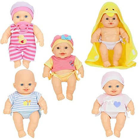 Amazon Com You Me So Many Babies 5 Pack Doll Set Caucasian Toys