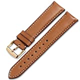 iStrap Quick Release Leather Watch Band Wrist Calf Strap Men Women 18mm Soft Pin Buckle Brown