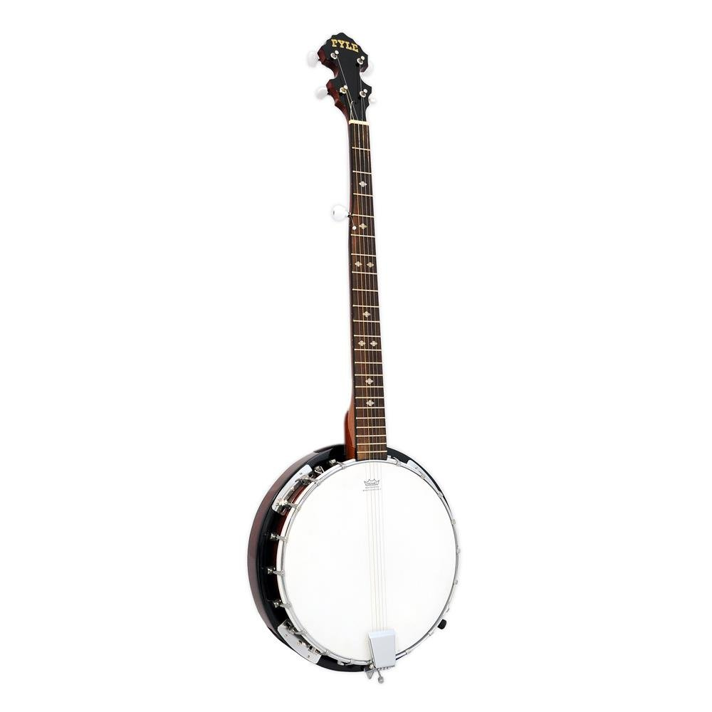Pyle 5-String Geared Tunable Banjo with White Jade Tune Pegs & Rosewood Fretboard Polished Rich Wood Finish Maplewood Bridge Stand & Truss Rod Adjustment Tool (PBJ60)