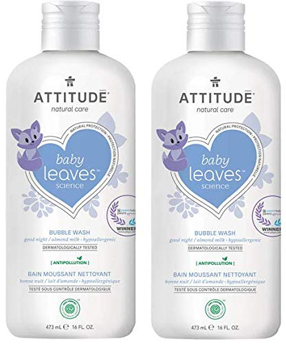 (Attitude baby leaves Almond Milk Natural Bubble Wash with Blueberry Leaf Extract (Pack of 2), 16 Oz Each)