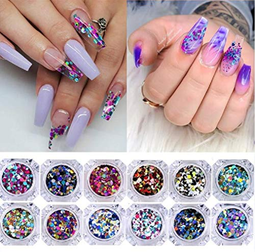 Halloween Hello Kitty Nail Art (NICOLE DIARY 12 Boxes Nail Glitter Flakes Colorful Round Sequins Paillette Manicure Halloween Body Face Eye Makeup Nail Art)