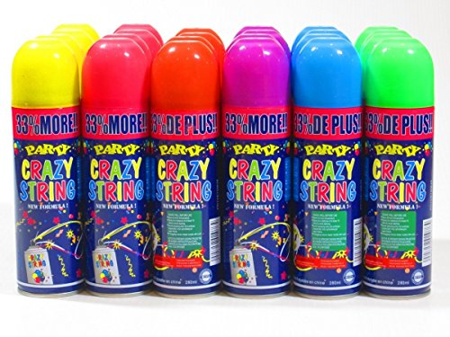 Streamer String Silly (Black Duck Brand 192 Pack Party Crazy String Streamer Spray Can Wholesale Bulk Lot)