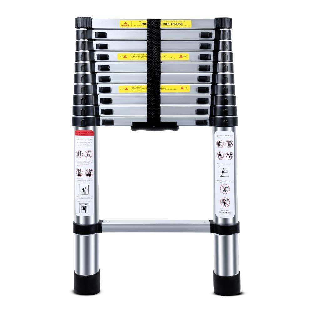 YUANYUAN521 2.6 M Portable Folding Ladder Aluminium Alloy Telescopic Ladder Retractable Convenient Durable Tools by YUANYUAN521