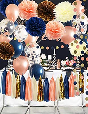Bridal Shower Decorations Navy Peach Rose Gold Ballons Qian's Party Navy Rose Gold Wedding Decorations/Navy Peach Bachelorette Party Decorations 30th/40th/50th Birthday Party Decorations