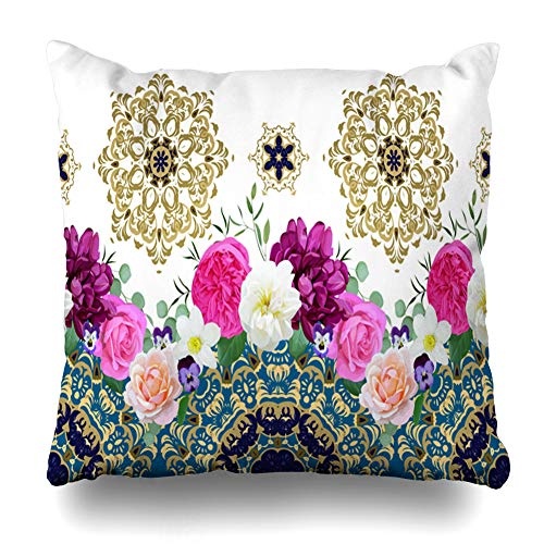 Ahawoso Throw Pillow Cover Square 20x20 Rose Border Spring Flowers Arabesques Nature Antique Floral Creative Blossom Realistic Fantasy Design Pretty Home Decor Cushion Case Pillowcase