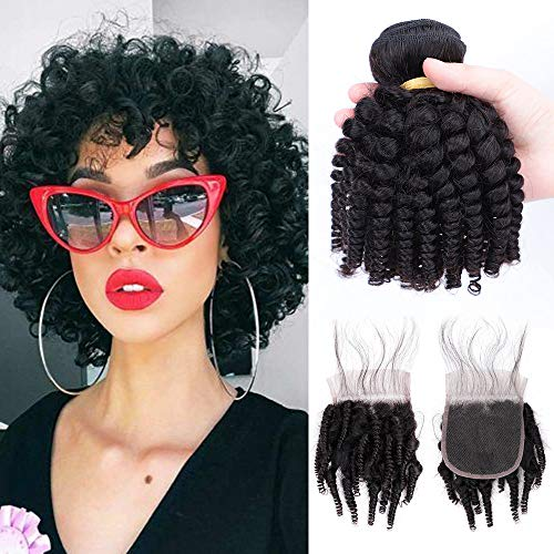 Brazilian Funmi Human Hair Curly Weave 3 Bundles with Lace Closure, Spiral Curl Hair Bundles with 4x4 Free Part Closure 100g/pc Full Head Natural Black(8