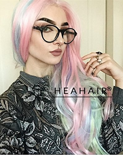 [Heahair Rainbow Hair Colorful Synthetic Lace Front Wigs] (Chibi Halloween Costume)