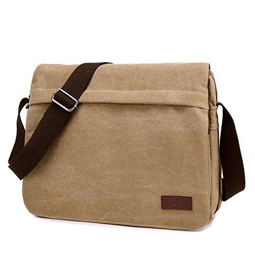 De los hombres solo bolsos de hombro,bolso de la lona,bandolera-marrón Kaki