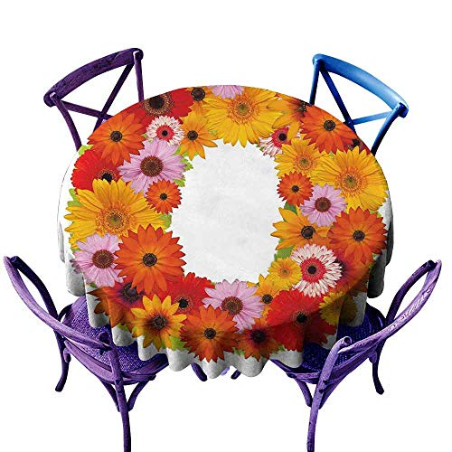 AndyTours Indoor/Outdoor Round Tablecloth,Letter O,Alphabet Themed ABC of Natural World Letter O with Daisies Colors of The Summer,for Events Party Restaurant Dining Table Cover,47 INCH Multicolor -