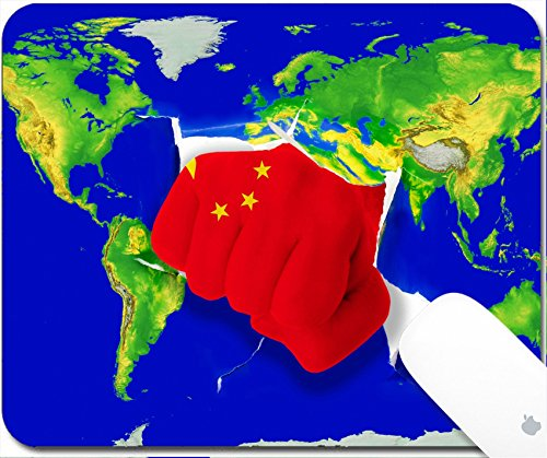 Luxlady Gaming Mousepad 9.25in X 7.25in IMAGE: 19242980 Fist in color national flag of china punching world map as symbol of export economic growth power and (Success Chino)