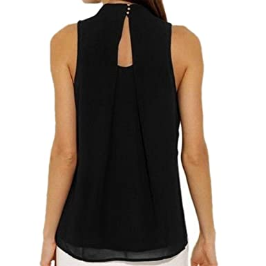 5eb0aa92a59324 Kanpola Summer Chiffon Blouse Tops Womens Casual Sleeveless Vest Shirt  Ladies Hanging Neck Breathable Tank Top T-Shirt: Amazon.co.uk: Clothing