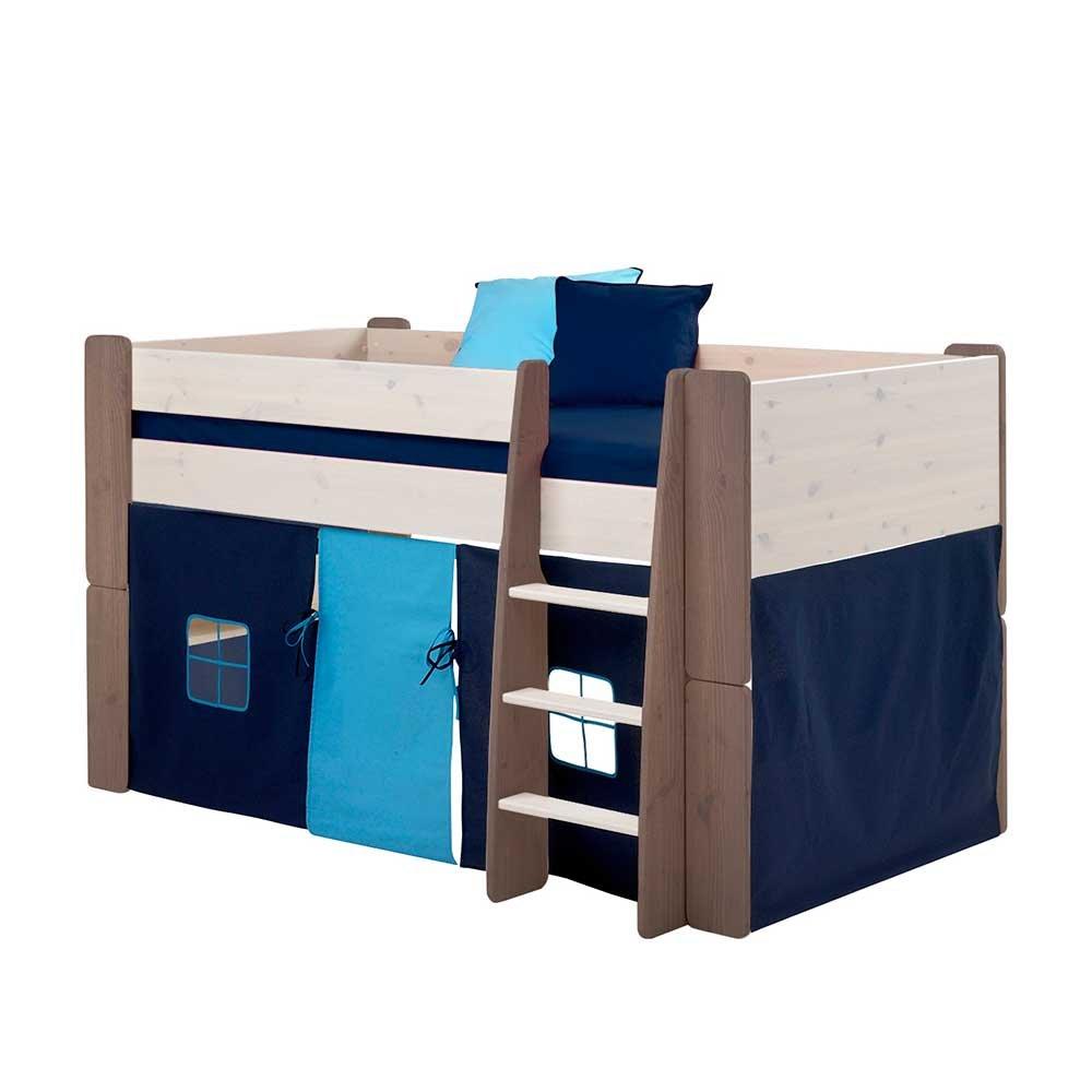 Pharao24 Halbhohes Kinderbett in Braun Weiß Vorhang