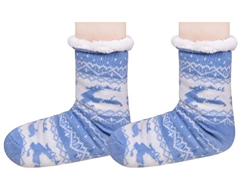 Kerst Fuzzy Warme Slippers Slaapkamer Schoenen Antislip Lange Slipper Sokken Voor Vrouwen Blauw