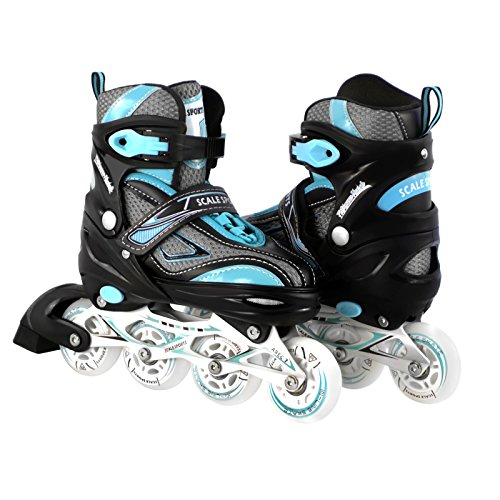 Kids/Teen Adjustable Inline Skates for Girls Ladies and Boys Durable Outdoor Roller Blades Illuminating Front Wheel