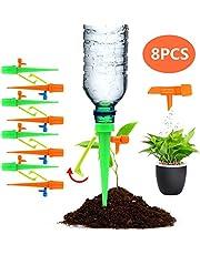 أجهزة سقاية النباتات، 8 قطع نظام سنون ذاتية السقاية ومياه نباتية أوتوماتيكية مطورة، نظام مسامير نباتية، منقطات الري مع مفتاح صمام التحكم البطيء للنباتات الداخلية والخارجية