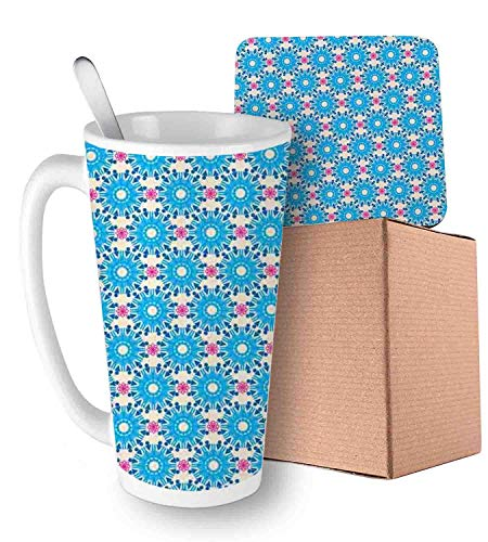 (Repeating Circle Pattern Composed of Graphic Geometric Triangle Symbol Blue Eggshell and Pink Ceramic Cup with Spoon & Coaster Creative Morning Mug Milk Coffee Tea Unique Porcelain Cup Mug 16oz)