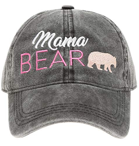 MIRMARU Baseball Dad Hat Vintage Washed Cotton Low Profile Embroidered Adjustable Baseball Caps (Mama Pink Bear -Black) (Womens Pink Adjustable Cap)