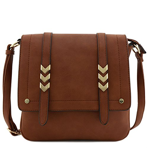 Double Compartment Large Flap Over Crossbody Bag Brown (Cross Body Flap Bag)
