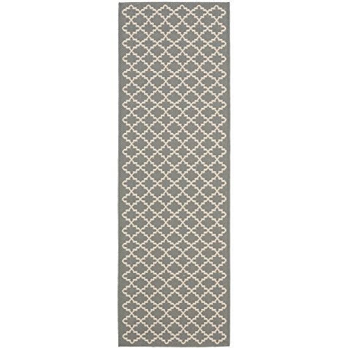 3 X 6 Runner (Safavieh Courtyard Collection CY6919-246 Anthracite and Beige Indoor/ Outdoor Runner (2'3