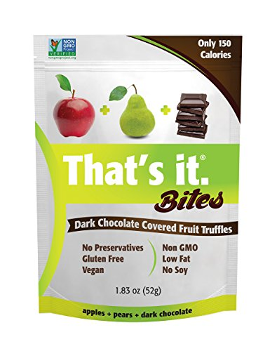 Apple + Pear That's It. Fruit Bites | Dark Chocolate Covered Fruit Truffles | 100% Natural Great Tasting Real Fruit | Vegan, Gluten Free, Paleo, Kosher, Non GMO, No Preservatives | 6 Pouches