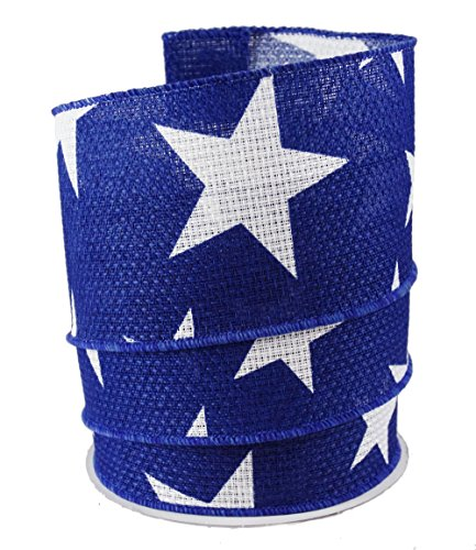 Patriotic Stars Linen Wired Ribbon #40 - 2.5