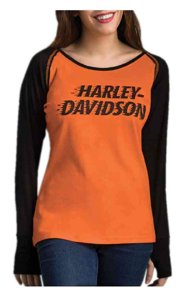 Harley-Davidson Women's Light It Up Long Sleeve Raglan Tee w/Thumbholes (2XL) Orange by Wisconsin Harley-Davidson