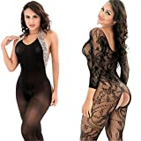 LOVELYBOBO 2 Pack Womens Sexy Lingerie Bodysuits Open Crotch Fishnet Mesh Bodystockings Suspender Black