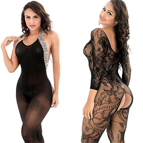 LOVELYBOBO 2 Pack Womens Sexy Lingerie Bodysuits Open Crotch Fishnet Mesh Bodystockings Suspender Black by LOVELYBOBO