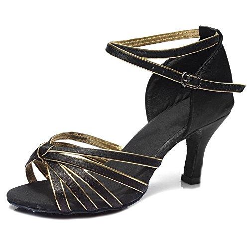 YFF Women's Ballroom Latin Dance Schuhe hochhackige Salsa 15 Stil Heiß , Schwarz + Gold, UK 2,5 / US 4 / EU 35,5cm