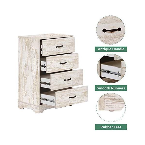 WLIVE 4 Drawer Chest, Wood Storage Organizer for Bedroom