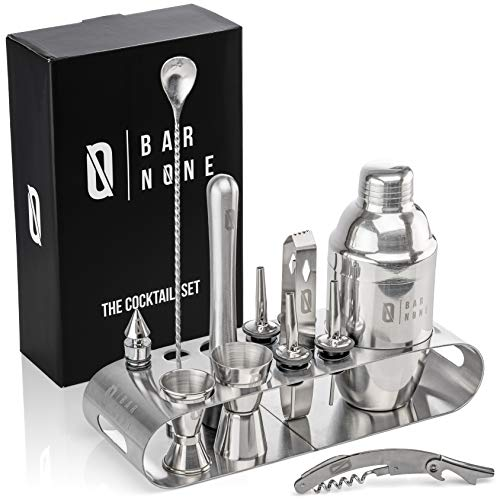 Bar None The Cocktail Set | 12-Piece + Stand Bar Set | Exquisite Quality Bartender Kit + Tools | Martini Shaker, Jigger, Shots, Muddler, Spoon, Ice Tongs, Corkscrew Knife Bottle ()