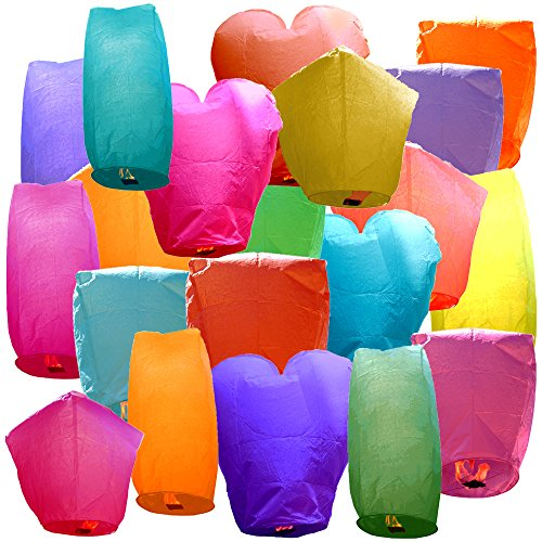 Just Artifacts 20 Eco Wire-free Assorted Chinese Flying Sky Lanterns (20-Pack, Assorted Shapes & Colors) - 100% Biodegradable, Environmentally -