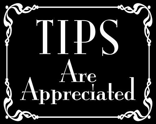 GHaynes Distributing BLACK Tips Are Appreciated Sticker Decal (bartender tip jar accept decal) Size: 4 x 5 - Sticker Bartender
