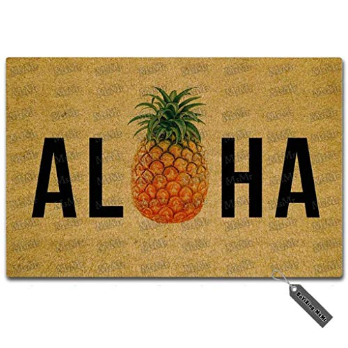 MsMr Entrance Floor Mat Funny Doormat Aloha Pineapple Door Mat Outdoor Indoor Rubber Mat Non-Woven Fabric Top 18