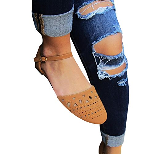 (Chuanqi Womens Flat Hollow Closed Pointed Toe Sandals Ankle Strap Buckle Shoes)