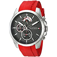 Tommy Hilfiger Men's Cool Sport Quartz Stainless Steel and Silicone Casual Watch (Red)