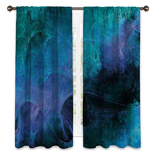 SATVSHOP Top Blackout Window Curtains/Drapes Two Panels - 120W x 96L - Solid Rod Pocket.Fractal Surreal Hazy Color Tone Effects Featured Blurred Dark Fantasy Cyberspace Plasma Theme Blue.