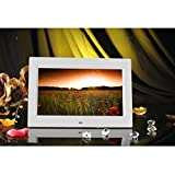 Han Shi Digital Photo Frame, 10inch 16:9 HD LCD, Remote Control, Built in Stereo Speaker, MP4 Video Player(White)