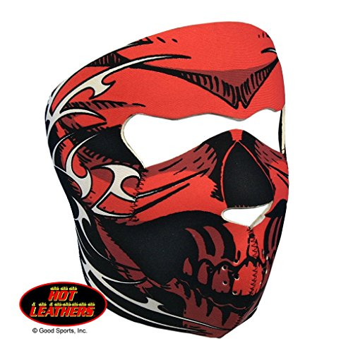 Red Skull Face Neoprene Motorcycle Face Mask - Biker Wear - Wind Protection (Red Skull Mask)
