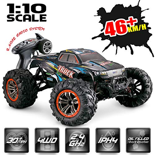 Hosim Large Size 1:10 Scale High Speed 46km/h 4WD 2.4Ghz Remote Control Truck 9125,Radio Controlled Off-Road RC Car Electronic Monster Truck R/C RTR Hobby Grade Cross-Country Car (Black) (Gas Rc Cars Fast 100 Mph)