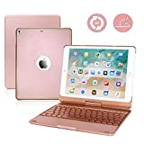 2018 iPad 9.7 6th Generation/iPad Air/iPad Air 2/iPad Pro 9.7/iPad 9.7 Keyboard Case,G-TING 360 Degree Rotating Full Angle Smart Keyboard Case with 7 Color Backlit and Sleep Wake up Feature - Pink