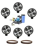 Kit of (6) HIGH PRESSURE - 18'' Oscillating (Wall mount) Mist Fans, Pump and Tubing