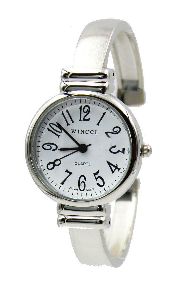 Women's Classic Silver Tone Easy Read Bangle cuff Watch