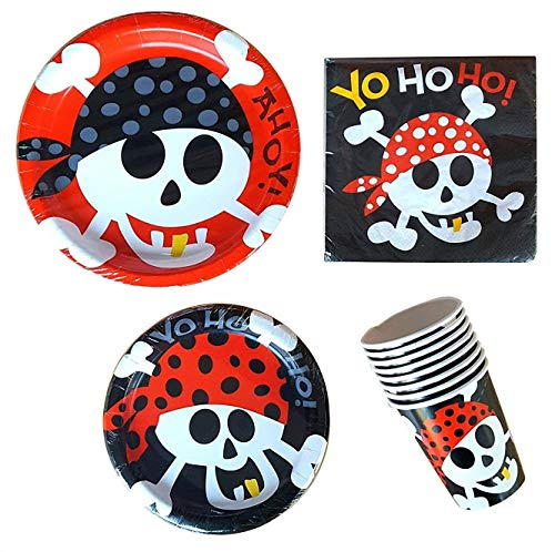 Ahoy Pirate Party Supplies Pack - for 16 Guests Including Dinner Plates, Dessert Plates, Cups, and Napkins -